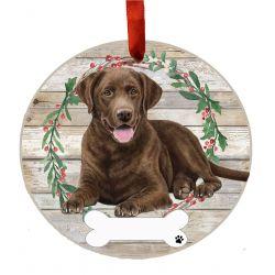 Labrador, chocolate, FB Ceramic Wreath Ornament