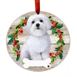 Maltese, FB Ceramic Wreath Ornament