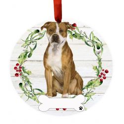 Pit Bull, FB Ceramic Wreath Ornament