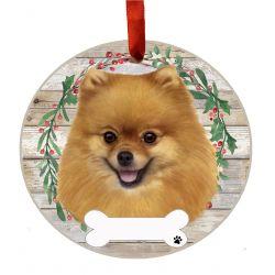Pomeranian Ceramic Wreath Ornament
