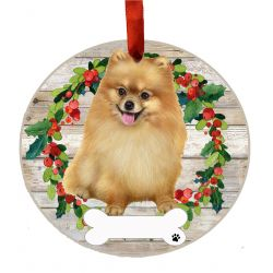 Pomeranian, FB Ceramic Wreath Ornament