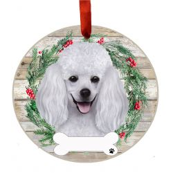 Poodle, white Ceramic Wreath Ornament