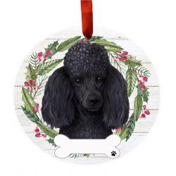 Poodle, black Ceramic Wreath Ornament