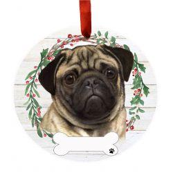 Pug Ceramic Wreath Ornament