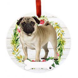 Pug, FB Ceramic Wreath Ornament
