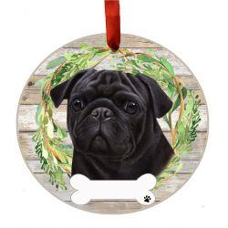 Pug, Black Ceramic Wreath Ornament