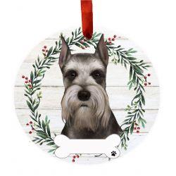 Schnauzer Ceramic Wreath Ornament