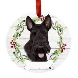 Scottish Terrier Ceramic Wreath Ornament