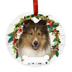 Sheltie Ceramic Wreath Ornament