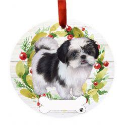 Shih Tzu, black and white FB Ceramic Wreath Ornament