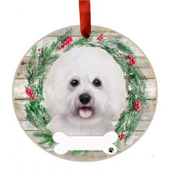 Bichon Frise Ceramic Wreath Ornament