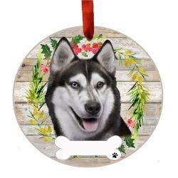 Siberian Husky Ceramic Wreath Ornament