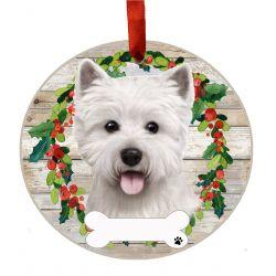Westie Ceramic Wreath Ornament