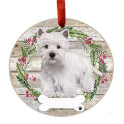 Westie, FB Ceramic Wreath Ornament