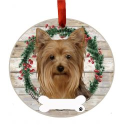 Yorkie Ceramic Wreath Ornament