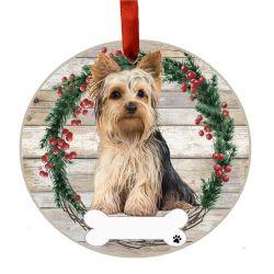 Yorkie, FB Ceramic Wreath Ornament