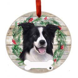 Border Collie Ceramic Wreath Ornament