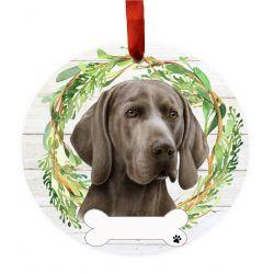 Weimaraner Ceramic Wreath Ornament