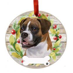 Boxer, uncropped Ceramic Wreath Ornament
