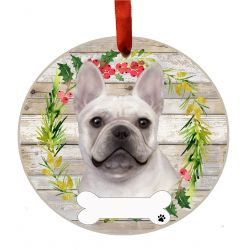French Bulldog Ceramic Wreath Ornament