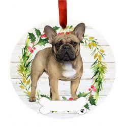 French Bulldog FB Ceramic Wreath Ornament