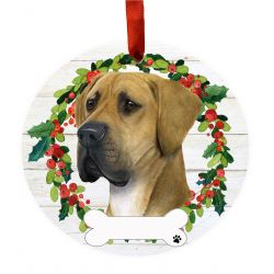 Great Dane, uncropped Ceramic Wreath Ornament