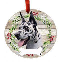 Great Dane, Harlequin Ceramic Wreath Ornament