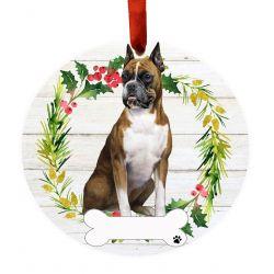 Boxer, FB Ceramic Wreath Ornament