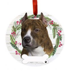 Pit Bull, Brindle Ceramic Wreath Ornament