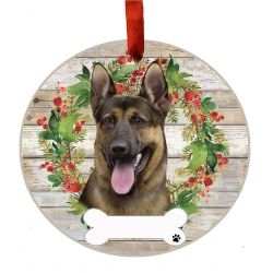 German Shepherd Ceramic Wreath Ornament