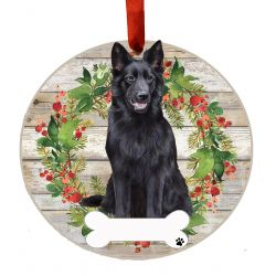 German Shepherd, black Ceramic Wreath Ornament