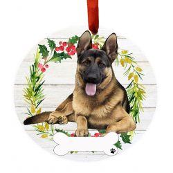 German Shepherd FB Ceramic Wreath Ornament