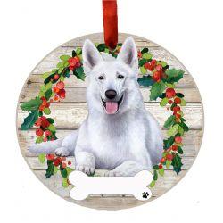 German Shepherd, white Ceramic Wreath Ornament