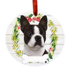 Boston Terrier Ceramic Wreath Ornament