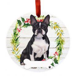 Boston Terrier FB Ceramic Wreath Ornament