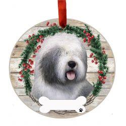 Old English Sheepdog Ceramic Wreath Ornament