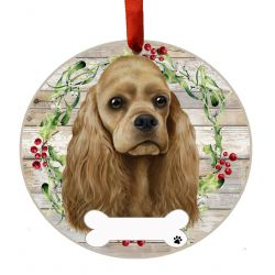 Cocker Spaniel, buff Ceramic Wreath Ornament