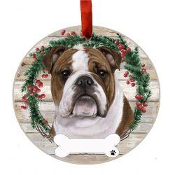 Bulldog Ceramic Wreath Ornament