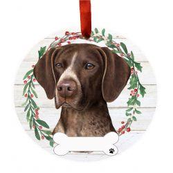 German Shorthaired Pointer Ceramic Wreath Ornament