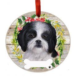 Shih Tzu, black and white Ceramic Wreath Ornament