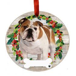 Bulldog, FB Ceramic Wreath Ornament