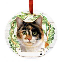 Calico Cat Ceramic Wreath Ornament