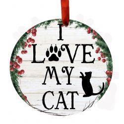 I Love My Cat Ceramic Wreath Ornament