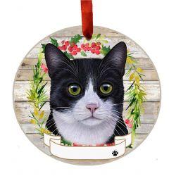 Black and White Cat Ceramic Wreath Ornament