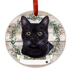 Black Cat Ceramic Wreath Ornament