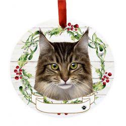 Maine Coon Cat Ceramic Wreath Ornament