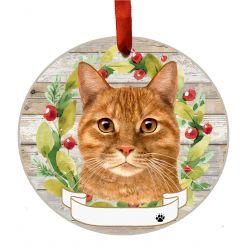Tabby, orange Ceramic Wreath Ornament