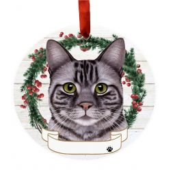 Tabby, silver Ceramic Wreath Ornament