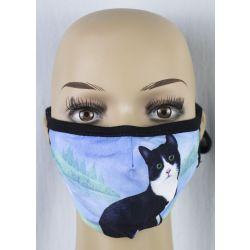 Cat, Black and white Face Masks