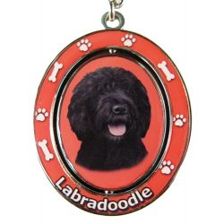 Labradoodle, black Key Chain